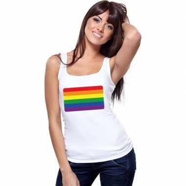 Regenboog vlag singlet wit dames