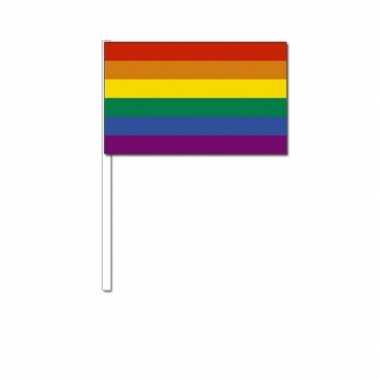 Regenboog zwaai vlaggetjes 12 x 24 cm