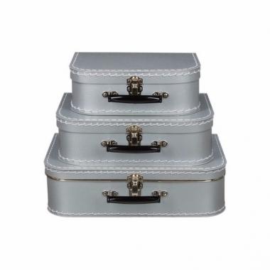 Retro koffertje zilver 25 cm