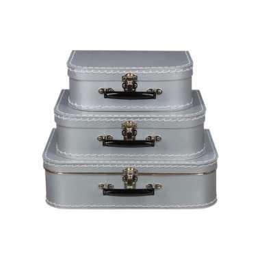 Retro koffertje zilver 30 cm