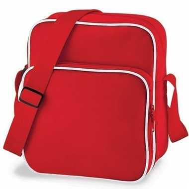 Retro schoudertas rood 10 liter