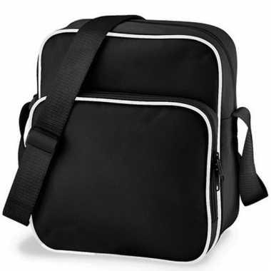 Retro schoudertas zwart 10 liter