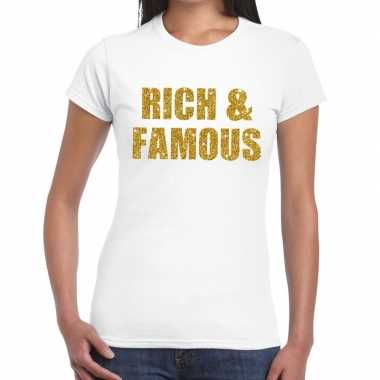 Rich and famous glitter tekst t-shirt wit dames