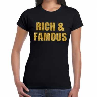 Rich and famous glitter tekst t-shirt zwart dames