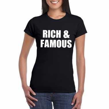 Rich & famous tekst t-shirt zwart dames