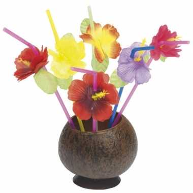 Rietjes met gekleurde bloemen 24 stuks