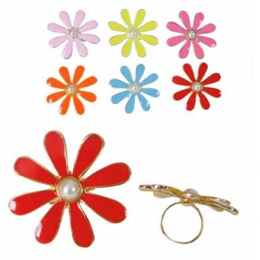 Ring met een gekleurd bloemetje
