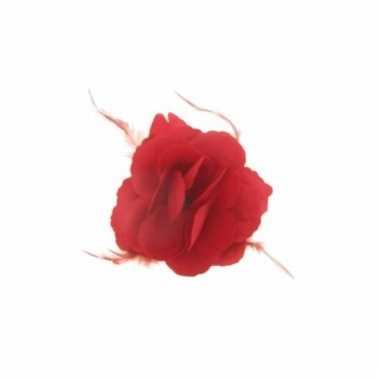 Rode bloem voor in het haar 10x10cm