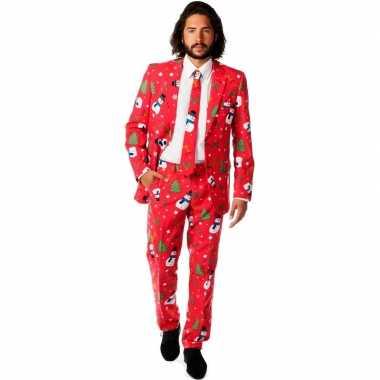 Rode business suit met kerst print