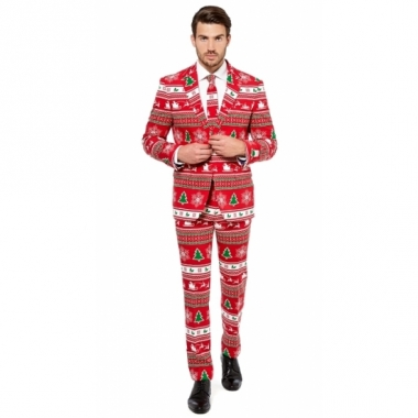 Rode business suit met kerstboom print