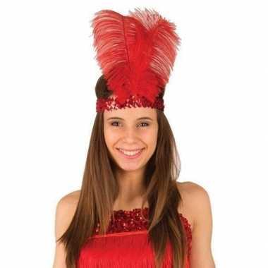 Rode charleston hoofdband met veren voor dames