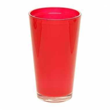 Rode conische vaas 22 cm