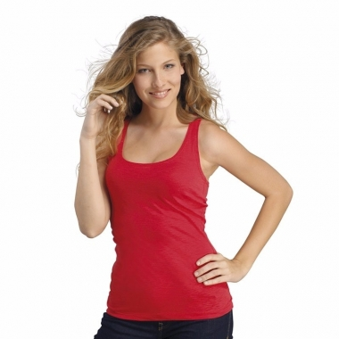 Rode dames shirt zonder mouwen