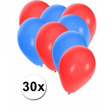 Rode en blauwe feestballonnen 30x