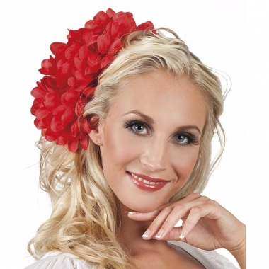 Rode flamenco haarbloem 20 cm