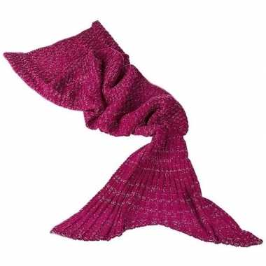 Rode gebreide zeemeermin deken volwassenen 180 cm