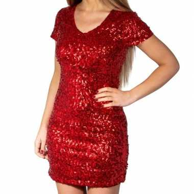 Rode glitter pailletten disco jurkje dames