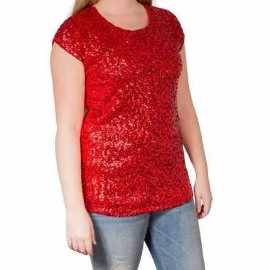 Rode glitter pailletten disco shirt dames l/xl
