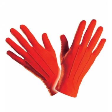 Rode handschoen kort