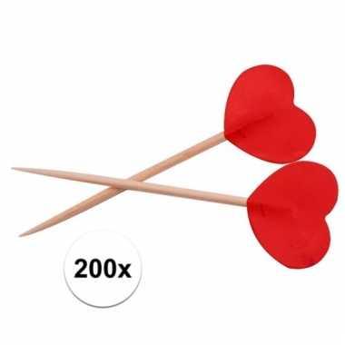 Rode hartjes feest prikkers 200 stuks