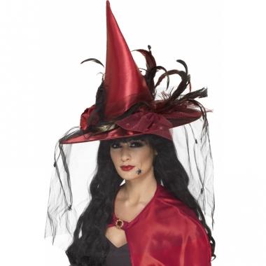 Rode heksen hoeden met veertjes