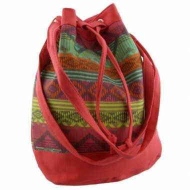 Rode hippie tas voor dames 30 cm