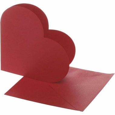 Rode hobby kaarten in hartjesvorm 10x