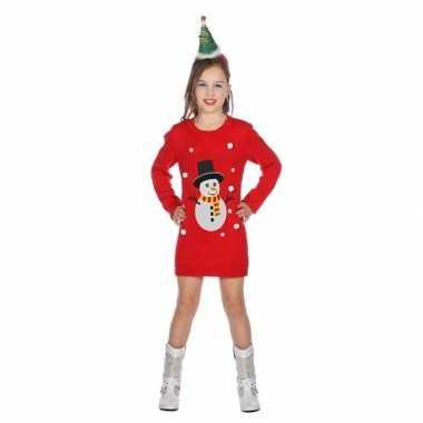 Rode kerst jurk met sneeuwpop voor meisjes