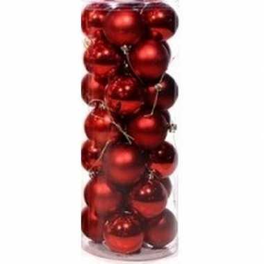 Rode kerstballen 28 stuks 6 cm kerstversiering