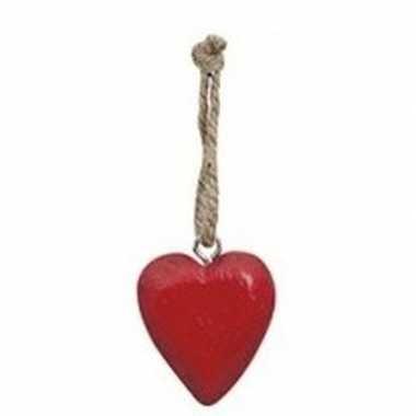 Rode kerstboom hartjes hanger 5 cm