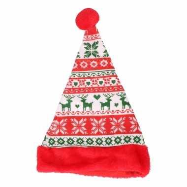 Rode kerstmuts voor kinderen gebreide stijl