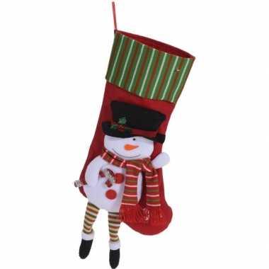 Rode kerstsok met sneeuwpop kerstversiering hangdecoratie 47cm