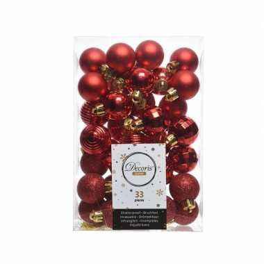 Rode kerstversiering kerstballenset 33 stuks