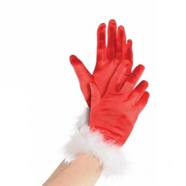 Rode kerstvrouw handschoenen