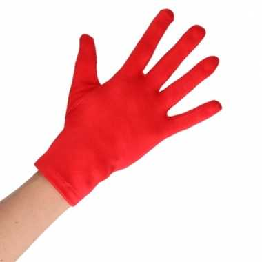 Rode korte handschoenen voor volwassenen