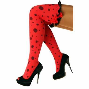 Rode kousen met zwarte stippen en ruches