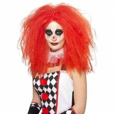 Rode luxe clownspruik xl voor volwassenen