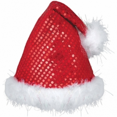 Rode luxe pailletten kerstmuts
