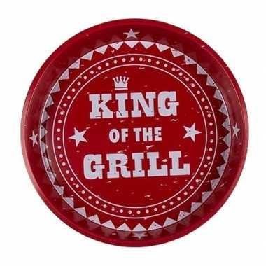 Rode metalen dienblad king of the grill
