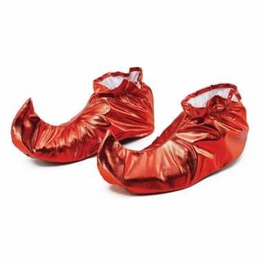 Rode metallic elfen schoenen voor volwassenen