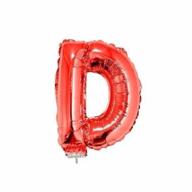 Rode opblaas letter d folie balloon 41 cm
