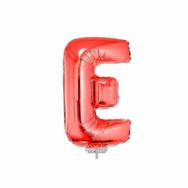 Rode opblaas letter e folie balloon 41 cm