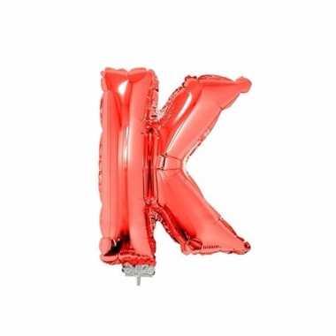 Rode opblaas letter k folie balloon 41 cm