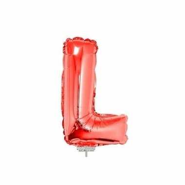 Rode opblaas letter l folie balloon 41 cm