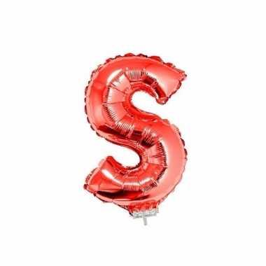 Rode opblaas letter s folie balloon 41 cm