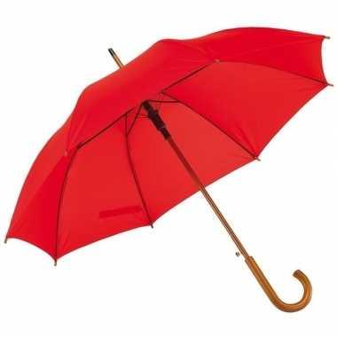 Rode paraplu met houten handvat 103 cm