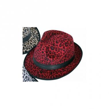 Rode party hoed met panter print
