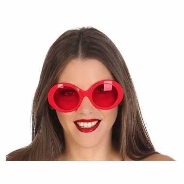 Rode ronde verkleed zonnebril