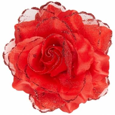 Rode roos haarversiering met glitters