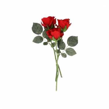 Rode roos op steel 30 cm 3 stuks